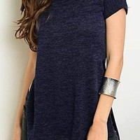 069-Navy Ribbed Top