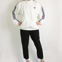 Vintage 80's 90's Adidas White Navy Blue Stripes Sport Track Jacket, Adidas Windbreaker, Trefoil Jacket