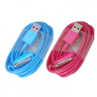 ELONGPRO 2PCS 6 feet/2M USB Cable Charger Cord for iPhone 3G s 4 4S iPad 2 iPod Light Blue/Hot Pink A9W