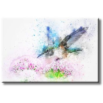 Beautiful Tailed Emerald Hummingbird in Flight Feeding on Pink Flowers Design Picture on Stretched Canvas, Wall Art Décor, Ready to Hang