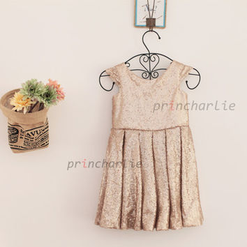 Champagne Gold Sequin Flower Girl Dress/Junior Bridesmaid Dress Cap Sleeves Baby Girl Wedding Party Dress