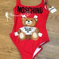 Moschino Cute Bear Prints Halter One Piece Swimsuit Bikini One-nice™
