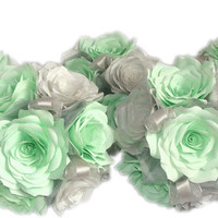 Mint green and silver Wedding bouquets, Paper Bouquet, Wedding party bouquets, Fake bouquet, silk bouquet, Toss bouquet, Custom bouquets