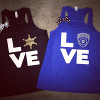 Love - Police - Sheriff  - Tank - Girlfriend - Wife Apparel - Ruffles with Love - LOVE Symbol Tank