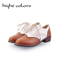 2017 Hot Sale Ballerina Flats Shoes For Women Color Block Oxford Casual Flat Shoes Moccasins Lace-Up Loafers Black Shoes Woman
