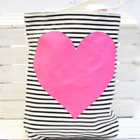 Canvas Tote Neon Heart + Stripes