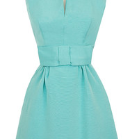 Candice Gwinn Bitsy Dress   1950s Cocktail Dress   Pastel Turquoise Ribbed Rayon