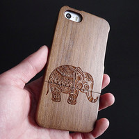 Wood iPhone 5 case - elephant  iPhone 5S case - Wood iPhone 4S case -  Wooden iPhone 4 case -  Cute Elephant iPhone 5C case - elephant - 6
