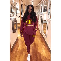 Free shipping-Champion women's fashion casual embroidery letter two-piece