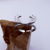 S925 Sterling Silver Fashion Style Ring Opening Antlers Original Design