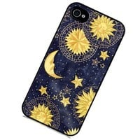 S9Q Vintage Retro Sun Moon Space Nebula Pattern Hard Back Skin Case Cover For Apple iPhone 4 4G 4S Style A (classic 3)