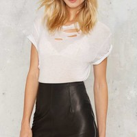 After Partyby Nasty Gal Unzipped Leather Mini Skirt