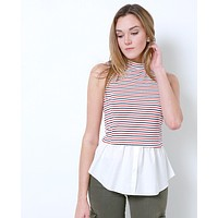 Prep Club Sleeveless Stripe Top - Red/White