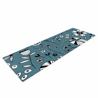 """Nic Squirrell """"Etched Flowers"""" Blue White Yoga Mat"""