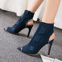 New fashionable high-heeled shoes with hollow fishmouth, short boots, women's shoes, water-washed denim sandals Dark blue