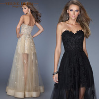 Black Champagne Appliques Lace Prom Dresses 2017 Sweetheart Fashion Party Evening Dress