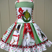 Custom Boutique Christmas Grinch Fabric Pom Pom Dress Girl 3 4 5 6 7 8