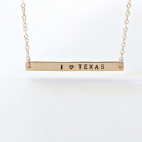 State Necklace Texas Necklace Gold Bar Necklace Personalized Necklace Silver State necklace I love Texas Personalized gift