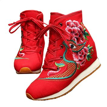Vintage Beijing Cloth Shoes Embroidered Boots red