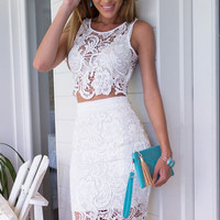 White Lace Two-Piece Pencil Dress