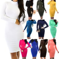 New Solid Fitted Long Sleeve Turtleneck Stretch Bodycon Dress Size S M L GT5332