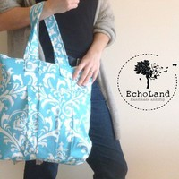 The Laura:  Large Zippered Tote in Ozborne Girly Blue from EchoLand Bags