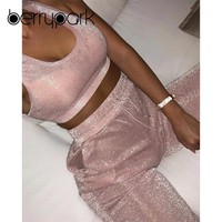 BerryPark NEW 2019 Summer Glitter Pink Workout Clothes Women Yoga Set Bra + Pants Running Wear Gym Suit Sport Fitness Outfits