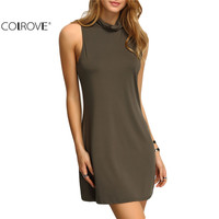 COLROVE Ladies 2016 New Arrival Summer Style Sexy Dresses Ladies Casual Mock Neck Sleeveless Shift Mini Dress