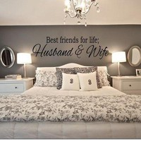 BEST FRIENDS FOR LIFE HUSBAND & WIFE Wall Art Decal Quote Words Lettering Home Decor - Limited Time SALE