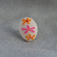 Embroidered flowers Cross stitch ring Embroidered jewelry Flowers ring Handmade ring Multicolored flowers Oval ring Gift for her