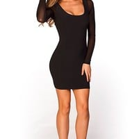 Lexis Black Mesh Long Sleeve Strappy Cut Out Cocktail Dress