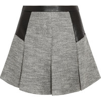 Karl Lagerfeld Abby faux leather-trimmed jacquard-knit skirt – 55% at THE OUTNET.COM
