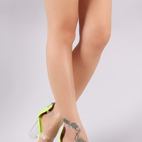 Transparent Triple Straps Suede Chunky Clear Heel