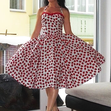 Pinup dress 'Summer Wine in Fresh Strawberries' strawberry dress very rockabilly dress, retro dress