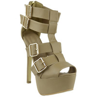 Womens Dress Sandals Strappy Buckle Accents Platform Shoes Taupe