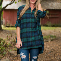 Fire Side Fun Tunic, Navy-Green