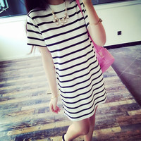 Striped Short-Sleeved Summer Dress