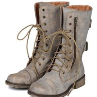 Nature Breeze AC08 Women Distress Zipper Lace Up Military Mid Calf Boot - Tan
