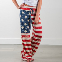 Comfy 4th of July Women's American Flag Drawstring Wide Leg Pants Leggings