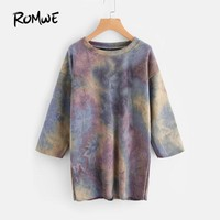 Water Color Sweatshirt Dress Multi Color Autumn Shift Dress Casual 3-4 Sleeve Short Dress Tie Dye Women Dress