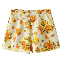 ROMWE Floral Print Zippered Shorts