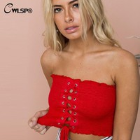 CWLSP Wrapped chest Cropped Lace up Tank Top Women t shirt Strapless tops Slim Ruched Bandeau Sexy Smocked Tube top QZ2391