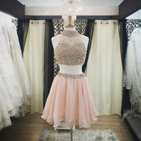 Two Piece Halter Homecoming Dress,Two Pieces Homecoming Dresses,Beaded Homecoming Dress