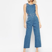 ASOS Denim Wide Leg Cut Out Jumpsuit In Pretty Vintage Wash at asos.com