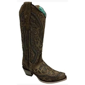 Corral Ladies Brown/ Grey Glitter Overlay & Studs Boots #E1569