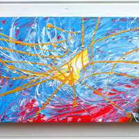 Original Abstract Art Painting 4D Rift Acrylic on Canvas Colorful
