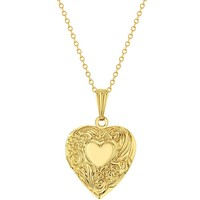 Small Photo Heart Locket Necklace Flower Pendant Girls Ladies 19""