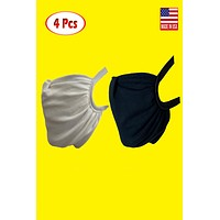 Fabric elastic headloop w/ filter pocket and reusable anti-dust shield mask (pack of 4)