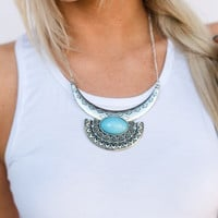 Half Moon Stone Necklace In Turquoise
