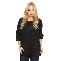 Double Cross Back Knit Sweater In Charcoal Grey